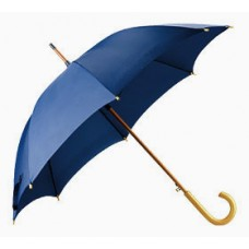 Зонт-трость с деревянной ручкой с логотипом (синий)